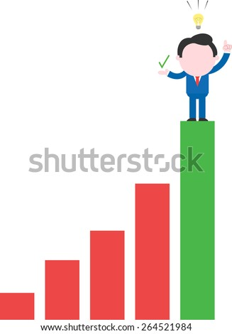 Showing check happy faceless cartoon businessman with idea on top rung of bar chart - stock vector