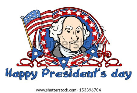Showing George Washington on - Presidents Day Vector Illustration - stock vector