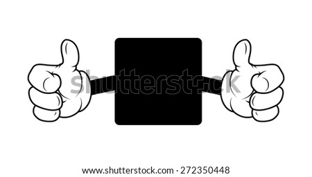 Showing Thumbs Up Message Banner - stock vector