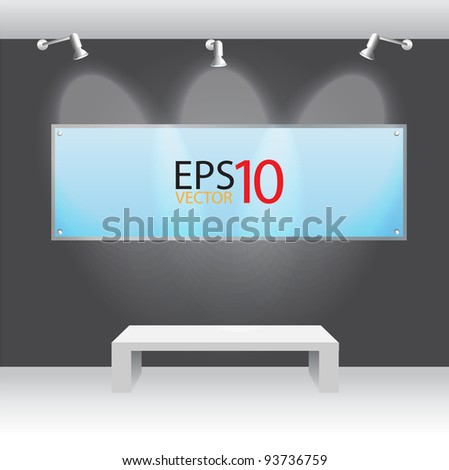 Showroom Panel and Sign in acrylic. with spotlights - stock vector
