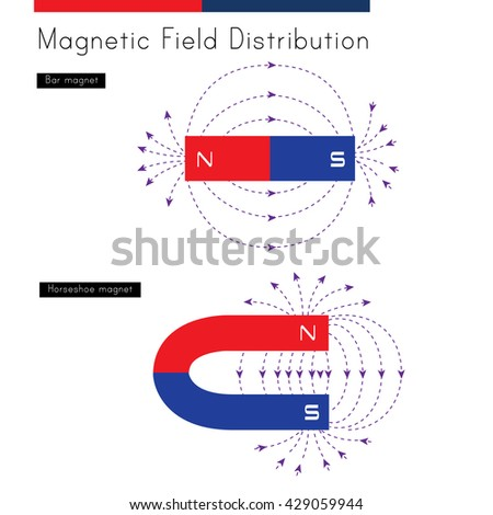 Shows the distribution of magnetic fields for a bar magnet and a horseshoe magnet - stock vector