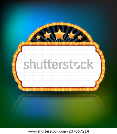 Showtime Retro Signs. Retro vintage frame banner promotion - light bulb shimmering casino or cinema theater sign. Vector illustration. - stock vector