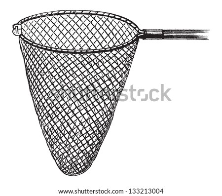Shrimping Net, vintage engraved illustration. Le Magasin Pittoresque - 1874 - stock vector