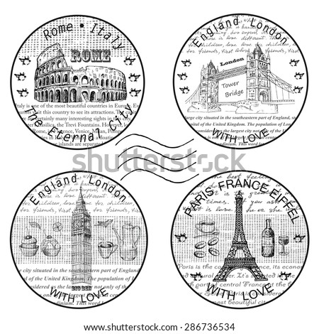 shtamp rome paris - stock vector