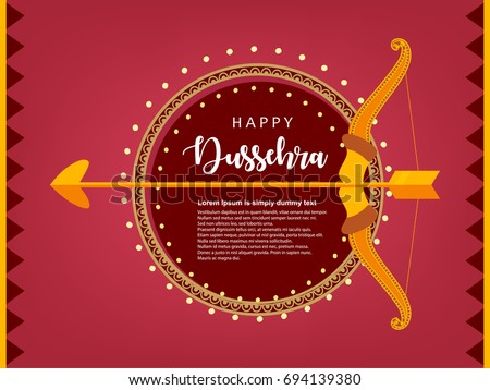 Shubh Dussehra, Vector Illustration, Easy to Edit, Bow & Arrow, Floral Frame.
