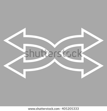 Shuffle Arrows Horizontal vector icon. Style is contour icon symbol, white color, silver background.