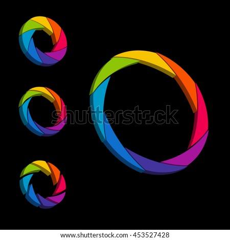 Shutter, Aperture color and white wheel. 3D logo. Isometric - stock vector