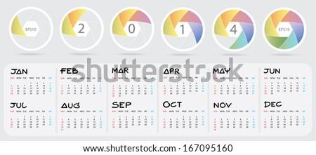 Shutter Blade : 2014 Calendar : Illustration EPS10  - stock vector