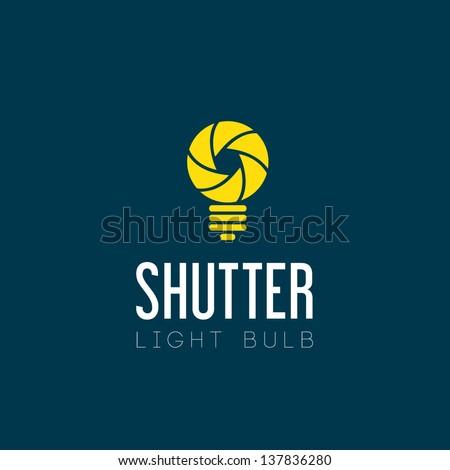 Shutter light bulb abstract logo template - stock vector