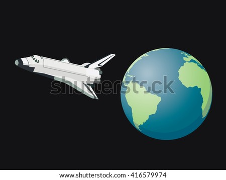 shuttle space leave world flying on the sky above the world vector graphic illustration