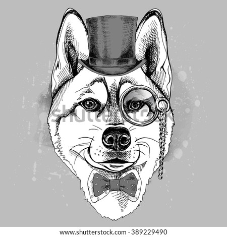 Siberian Husky dog portrait in a hat bowler and with monocle. Vector illustration. - stock vector