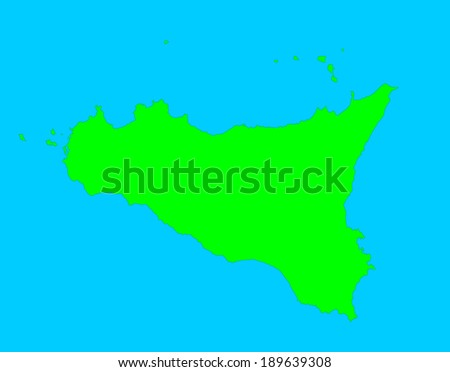 Sicily vector map isolated on blue background. High detailed silhouette illustration.  - stock vector