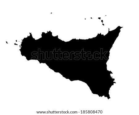 Sicily vector map isolated on white background. High detailed silhouette illustration. - stock vector