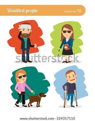 Sick and Disabled people. Blind with guide dog, broken leg and headache - stock vector