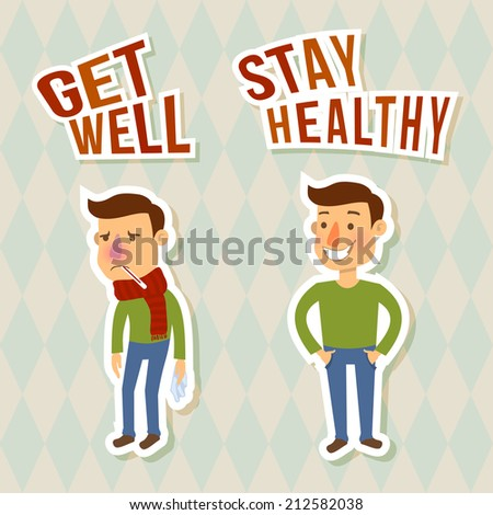 Sick and healthy man sticker characters isolated vector illustration - stock vector