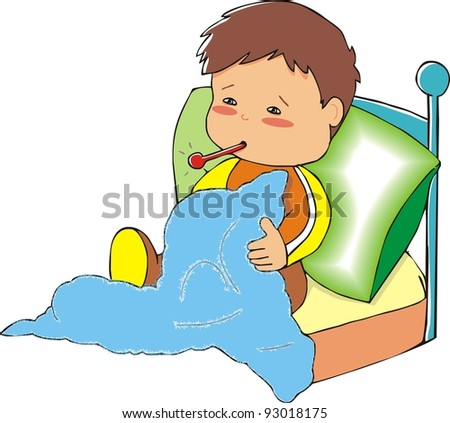 sick boy - stock vector