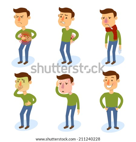 Sick characters set of people with pain and diseases isolated vector illustration. - stock vector