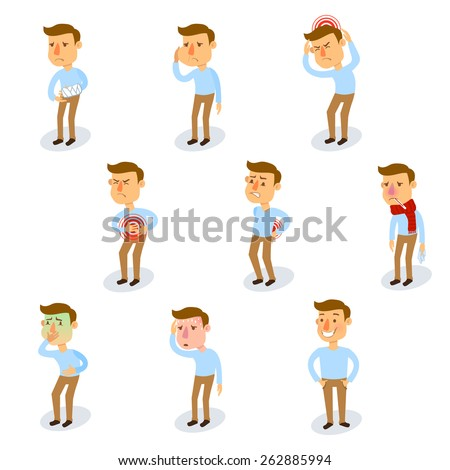Sick characters set with healthy adult and people with illnesses isolated vector illustration - stock vector