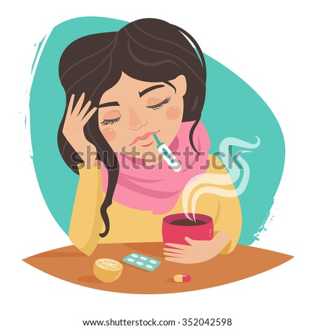 Sick girl. Cold. Medications, thermometer, tea with lemon. Vector isolated illustration. Cartoon character. - stock vector