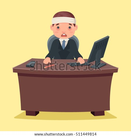 Sick Ill Businessman character work office and desktop cartoon design vector illustration