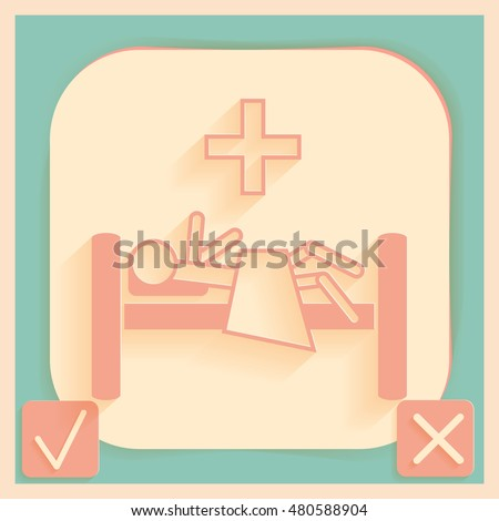 sick man in bed. hospital symbol. Patient lying on bed