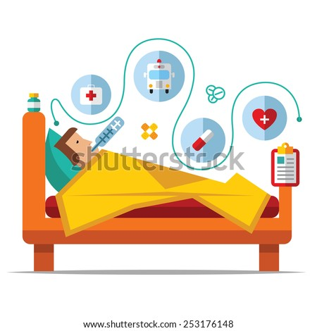 Sick man is in bed and taking thermometer.Vector flat - stock vector