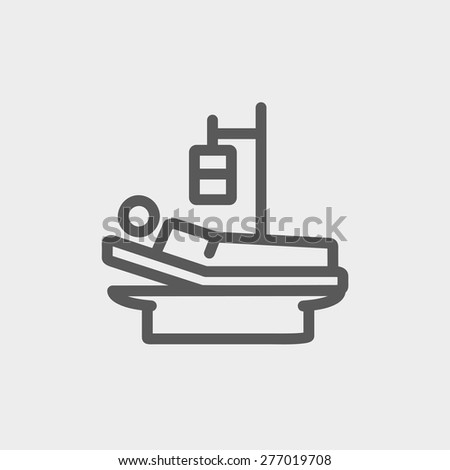 Sick man resting in bed with IV saline solution icon thin line for web and mobile, modern minimalistic flat design. Vector dark grey icon on light grey background. - stock vector