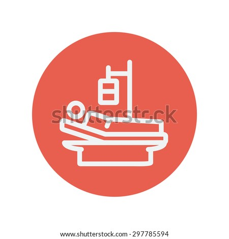 Sick man resting in bed with IV saline solution thin line icon for web and mobile minimalistic flat design. Vector white icon inside the red circle - stock vector