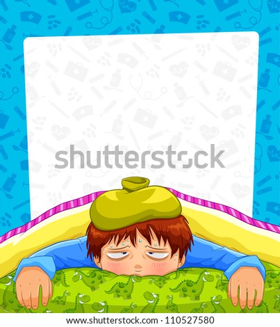 sick person over a pattern with medical icons and copy space (jpeg available in my gallery) - stock vector