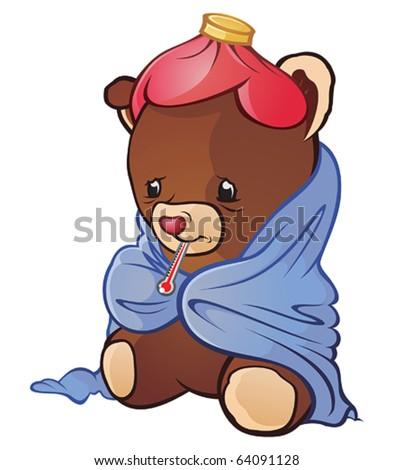 Sick Teddy Bear Cartoon Character - stock vector