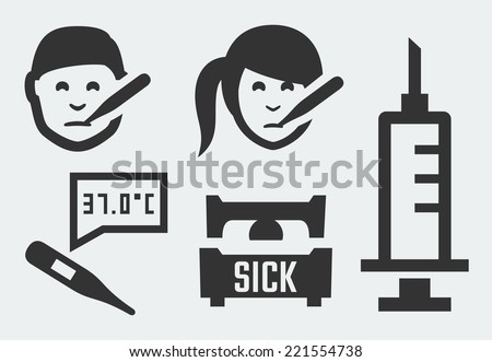 Sickness related vector icons set - stock vector
