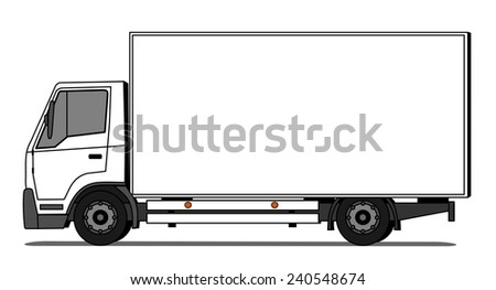 Side illustration of delivery truck - stock vector