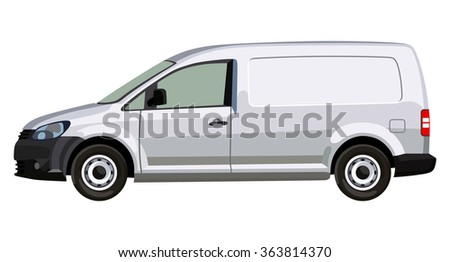 Side of a light commercial vehicle on a transparent background