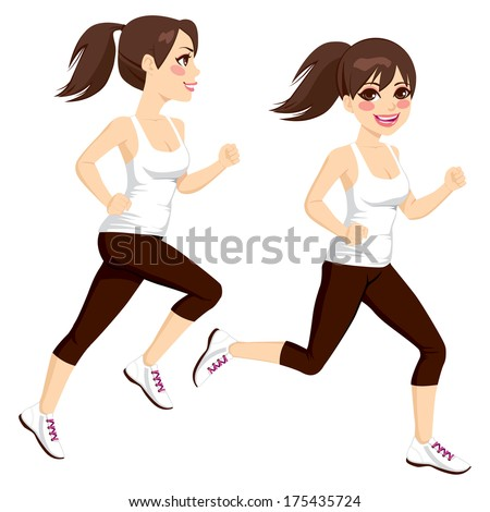 Side view full body beautiful brunette woman on two poses running - stock vector
