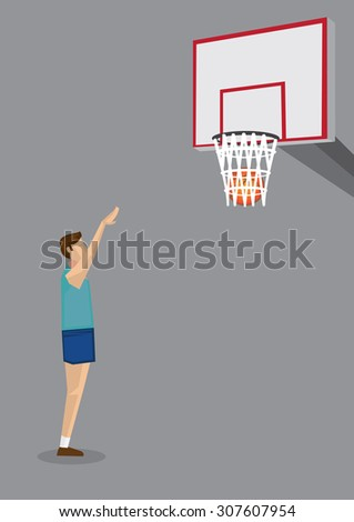 Side view of a basketball player extending arms to shoot basketball into hoop. Vector cartoon illustration on basketball sport theme isolated on grey background. - stock vector