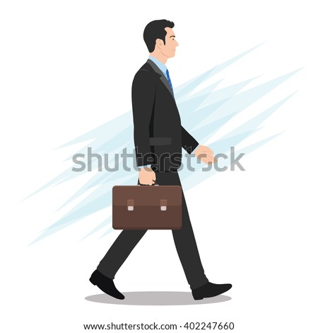 Side View of a Businessman Walking Forward - stock vector