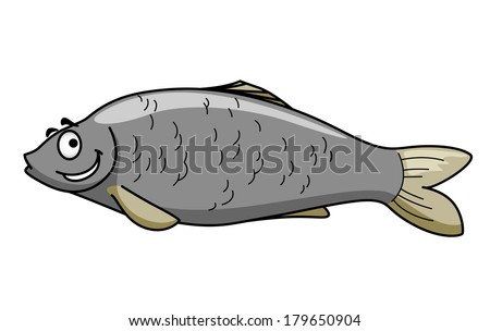 Side view of a funny grey cartoon fish character with a happy smile and eyebrows isolated on white - stock vector