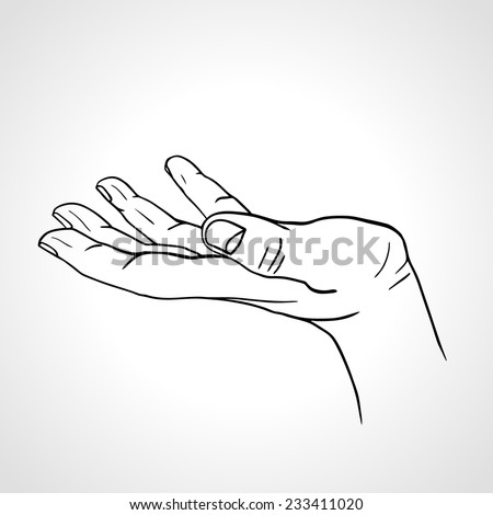 Side view of a line art  hand with palm up isolated on a white background, sketched open hand - stock vector