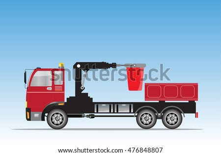 Side view of Crane truck with Bucket  Vector Illustration