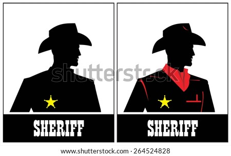 Side view of Sheriff. Cowboy. Young Sheriff. Sheriff Silhouette.  - stock vector