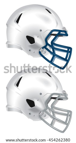 Side view of white football helmet vector isolated on white