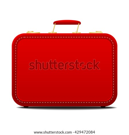Side view on single old fashioned red suitcase with red handle isolated white background with set down shadow - stock vector