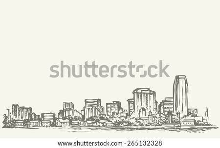 Side view panorama of waterfront street multistory structure business center of midtown docks harbor. Freehand ink drawn background sketch in art scribble style pen on paper with space for text on sky - stock vector