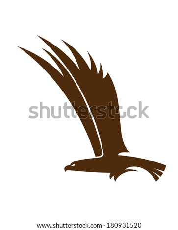 Side view silhouette of a flying falcon  or hawk logo with its powerful wings raised for mascot or tattoo design - stock vector