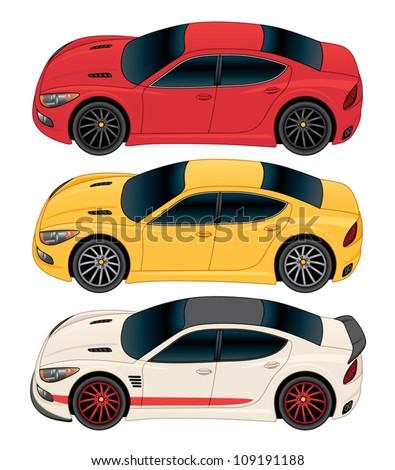 Side View Sports Sedan Vector Drawing - stock vector