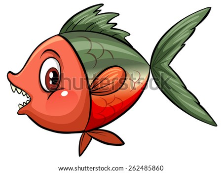 Sideview of a big fish on a white background - stock vector