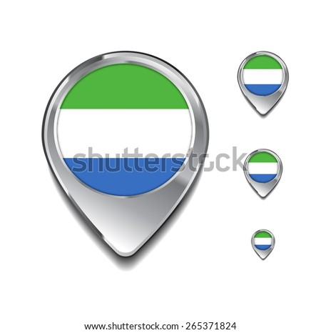 Sierra Leone flag map pointer. 3d Map Pointer with flag glossy button style on gray background - stock vector