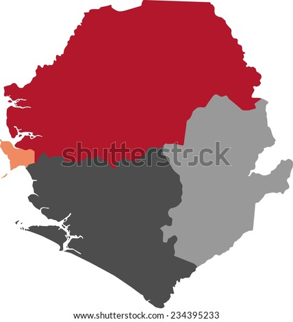 Sierra Leone Political Map Pastel Colors Stock Vector 2018