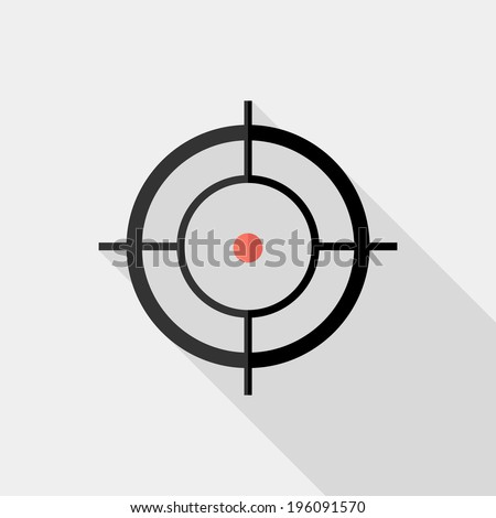 Sight (device) icon. Flat design style modern vector illustration. Isolated on stylish color background. Flat long shadow icon. Elements in flat design. - stock vector