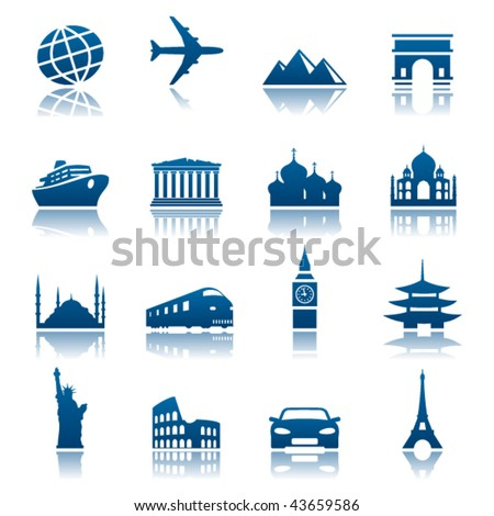Sights and transportation icon set - stock vector